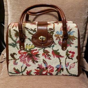 Vtg Boho Multicolor Floral Tapestry Box Bag